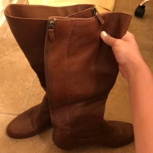 Full zippered tan boots size 9M with slight wedge